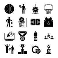 conjunto de ícones de estilo de silhueta de jogo de basquete vetor