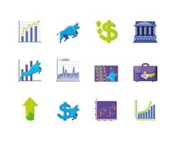 conjunto de ícones do mercado de ações vetor