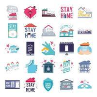 prevenção de coronavírus e ícones para ficar em casa vetor
