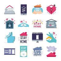 conjunto de ícones de prevenção do coronavírus e ficar em casa vetor