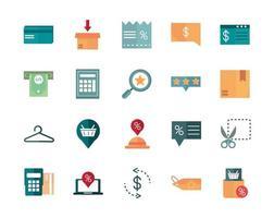 conjunto de ícones de comércio de negócios e comércio vetor
