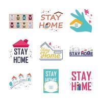 fique em casa evitando ícones vetor