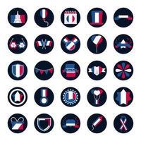 pacote de ícones franceses vetor