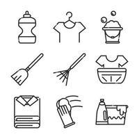 coleção de ícones de estilo de linha de ilustração vetorial de serviços de limpeza vetor