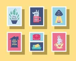 conjunto de ícones fique em casa e prevenção do coronavírus