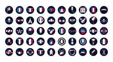 coleção de ícones franceses vetor