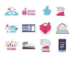 fique em casa conjunto de ícones