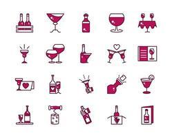 linha de celebração de vinhos e bebidas e coleção de ícones de preenchimento vetor