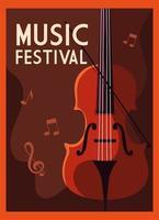 pôster do festival de música com violino e notas musicais vetor