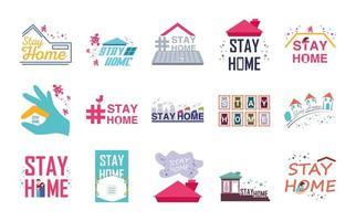 conjunto de ícones fica em casa