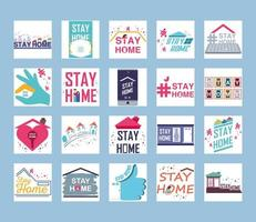 coleção de ícones de prevenção de coronavírus e ficar em casa vetor
