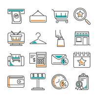pacote de ícones de compras e comércio de roupas de moda vetor