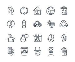 pacote de ícones de arte de linha de ecologia e meio ambiente vetor