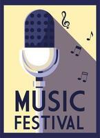 cartaz festival de música com microfone e notas musicais vetor