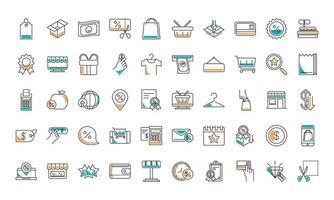 coleção de ícones de compras e comércio de roupas de moda vetor
