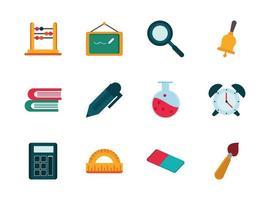 pacote de ícones de material escolar e papelaria vetor