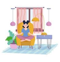 garota na sala meditando em uma cadeira ao lado faça uma planta vetor