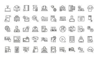 coleção de ícones de educação online vetor