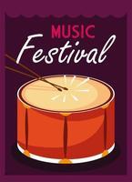 poster festival de música com tambor de instrumento musical vetor