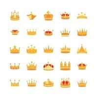 conjunto de ícones de luxo com coroas de ouro vetor