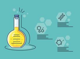 infográfico e tubo de ensaio de laboratório químico e coronavírus de pesquisa vetor
