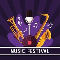 pôster festival de música com instrumentos musicais vetor