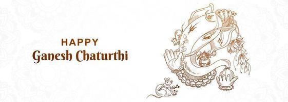 banner do festival ganesh chaturthi feliz vetor