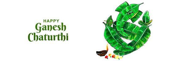 feliz ganesh chaturthi utsav folha elefante cartão banner
