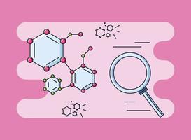 conexão de moléculas e pesquisa de coronavírus vetor