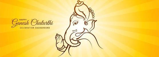 lord ganesha light ray para ganesh chaturthi card banner vetor