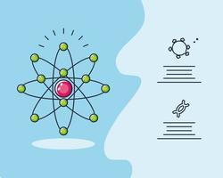 infográfico com pesquisa de átomo e coronavírus vetor