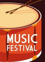 cartaz para festival de música com tambor vetor