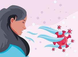 mulher doente de coronavírus com sintomas vetor