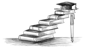 esboço de livros educacionais desenhados à mão criativa