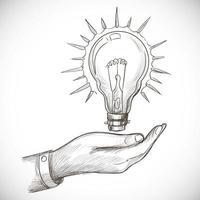 esboço de lâmpada de inovação de nova ideia desenhado à mão vetor