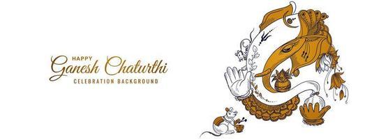 linha desenhada lord ganesha para banner do festival ganesh chaturthi vetor