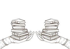 esboço de pilhas de livros de educação desenhado à mão