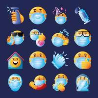 emoji conjunto de ícones do coronavírus vetor