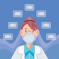 médico com máscara médica explicando como prevenir covid 19 vetor