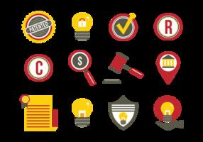 Ícones planos de proteção de ideias de patente