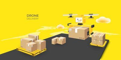 entrega expressa de pacote drone vetor
