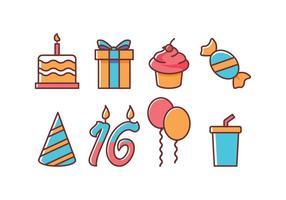 Conjunto grátis de ícones de aniversários vetor