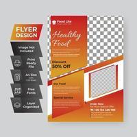 panfleto de ângulo gradiente vermelho e laranja comida saudável