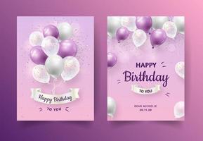 convite de aniversário roxo duplo vetor