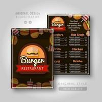modelo de menu de hamburguerias vetor