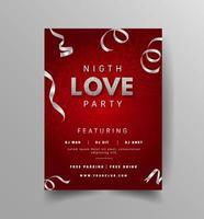 panfleto de festa de amor com confete prateado no vermelho