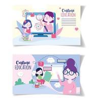 cartões de educação online com professores e alunos com dispositivos vetor