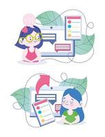 meninas usando tablet para estudar online