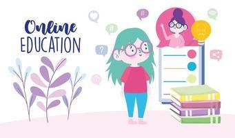 modelo de cartão educacional online com garota no smartphone