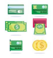 tipos de conjunto de ícones de pagamento vetor